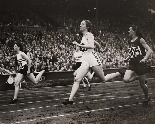The semi-finals of the women's 200 metres at the Olympic Games, London, 1948.
