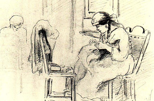 Dos mujeres cosiendo en un interior. Camille Pizarro, 1853. Dibujo tinta, grafito sobre papel. 18 x 27 cm. Galería de Arte Nacional, Caracas, Venezuela. Patrimonio de la Humanidad.